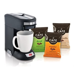 Cafe Valet Starter Kit - Coffee Maker + 12 Regular, 4 Decaf, 2 French Vanilla
