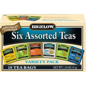 Cafe Valet Assorted Teas (18 / pk) - Lemon, Green, Constant Comment, Earl Gray, Mint, English Teatime