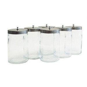 "Glass Jar with Lid for Cotton Applicators - 7"" x 4.25"""