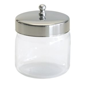 "Graham Field 3"" Glass Dressing Jar with Polished Aluminum Lid - 3"" x 3"""