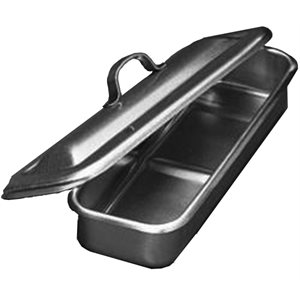 "Stainless Steel Tray with Strap Handle Lid (8.5"" x 3"" x 1"")"