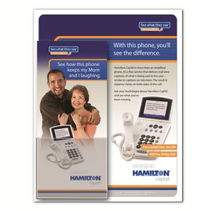 "Hamilton CapTel 840i Desktop Poster w /  Brochure Holder (8.5""x11"")"